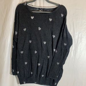 New Look Inspire Grey Heart Print Sweater size 20
